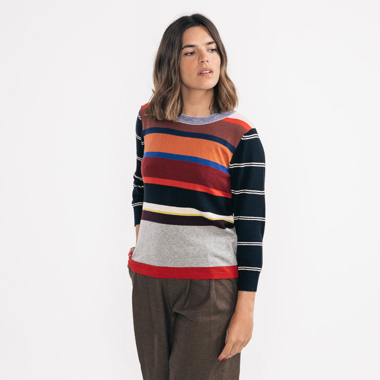 Model wears the Bellerose Gops Stripe Jumper - front view