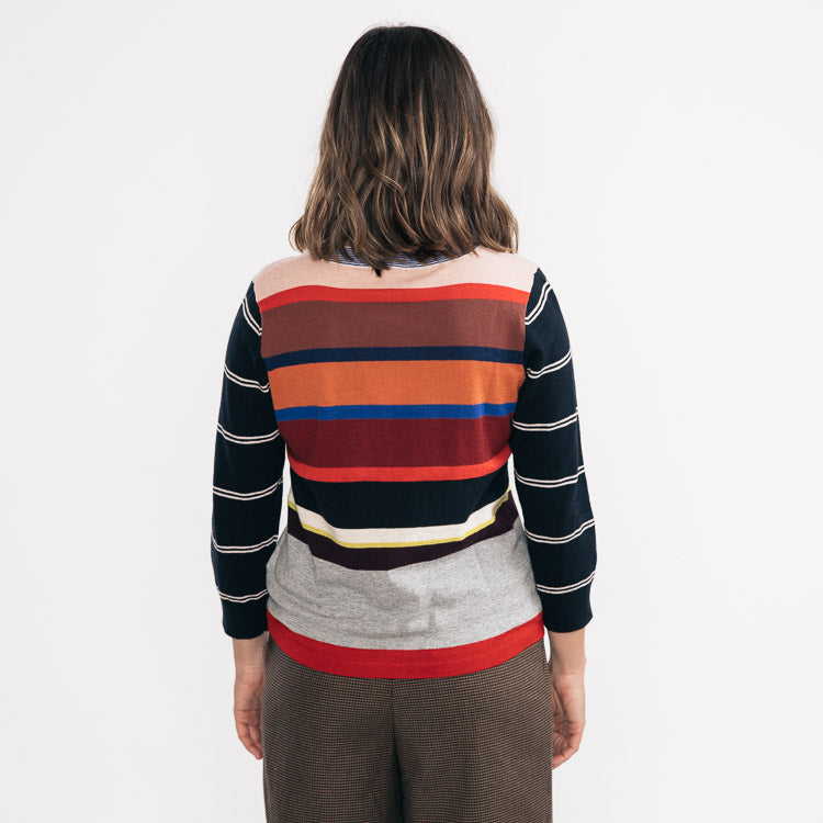 Model wears the Bellerose Gops Stripe Jumper - back view