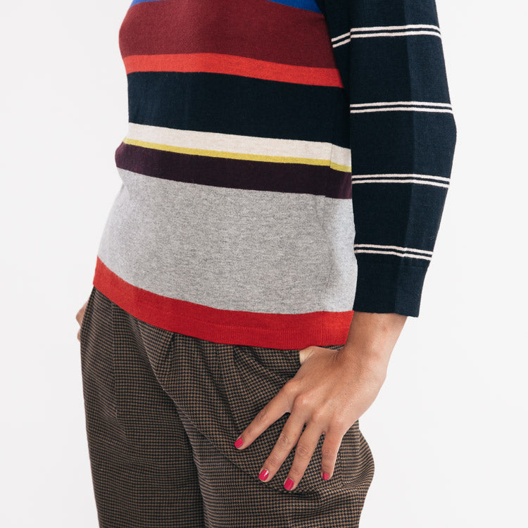 Model wears the Bellerose Gops Stripe Jumper - detailed side view