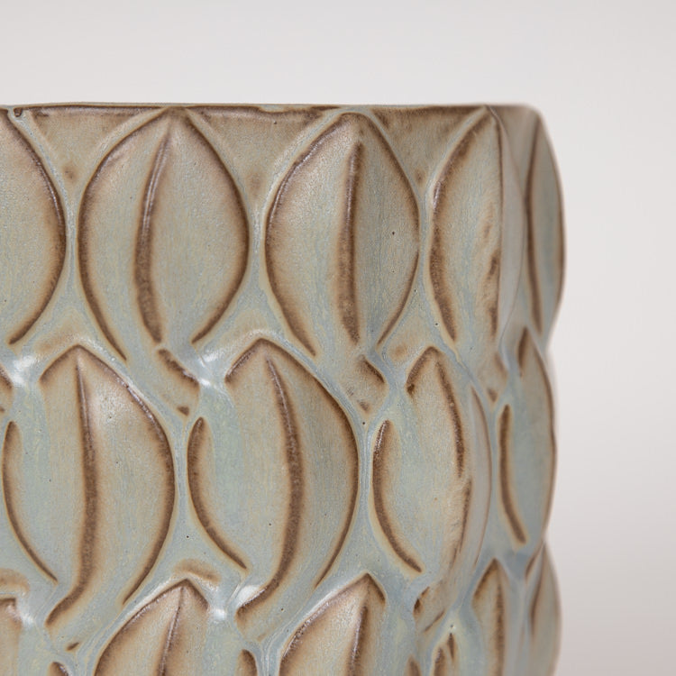 Bloomingville Natural Sand Stoneware Flowerpot - close up