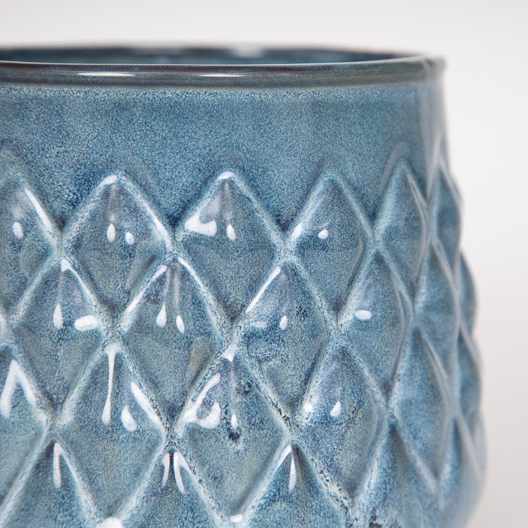 Bloomingville Blue Ceramic Stoneware Flowerpot - close up