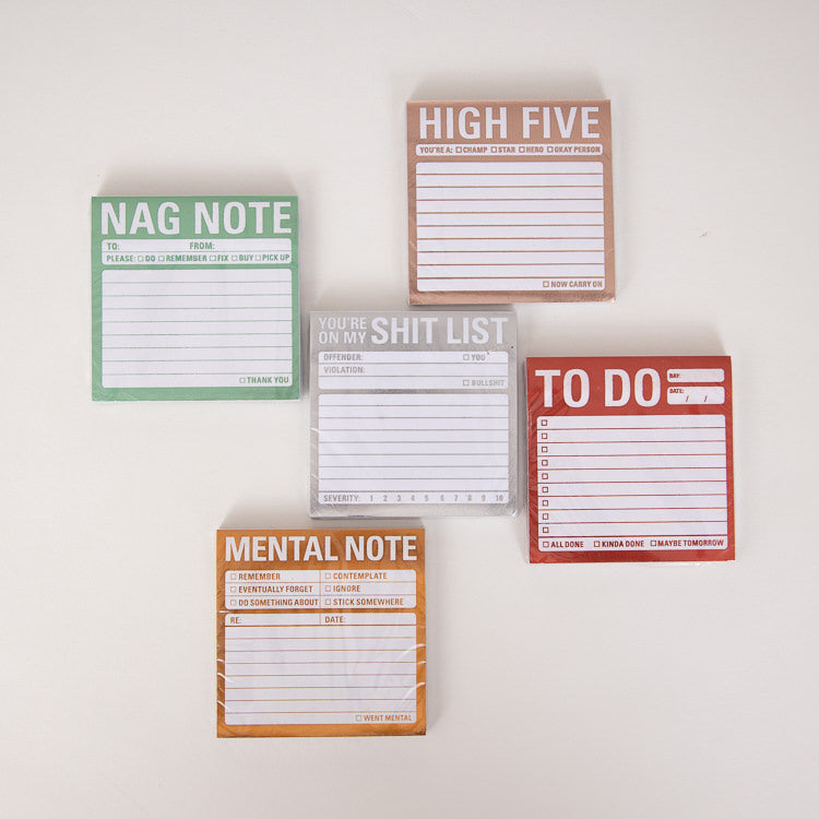 Knock Knock Shit List Metallic Sticky Notes