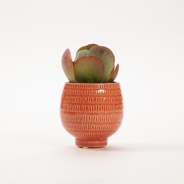 Bloomingville Orange Round Textured Stoneware Flower Pot
