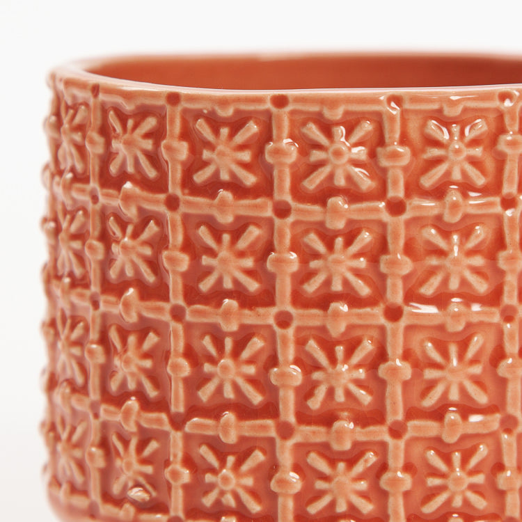 Bloomingville Small Orange Textured Stoneware Flowerpot
