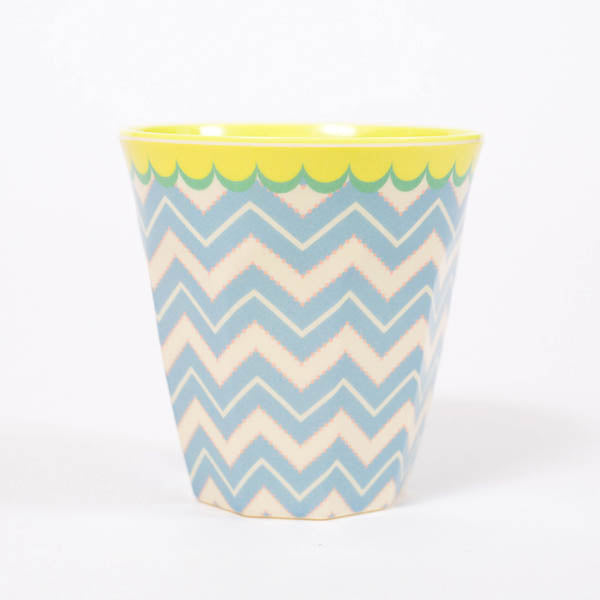 Product shot: RICE Blue Chevron Print Melamine Cup, photographed in the studio on a white background