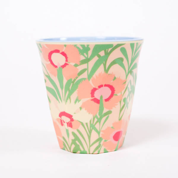 Product shot: RICE Pink Floral Vintage Print Melamine Cup, photographed in the studio on a white background