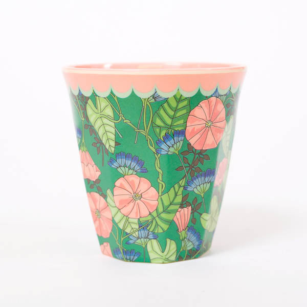 Product shot: RICE Green Bindweed Print Melamine Cup, photographed in the studio on a white background
