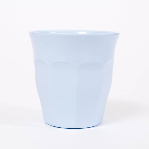 Product shot: RICE Soft Blue Melamine Cup, photographed in the studio on a white background