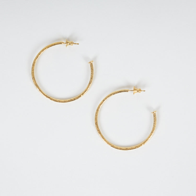 Sophie Harley Plain Hammered Large Gold Plated Hoops