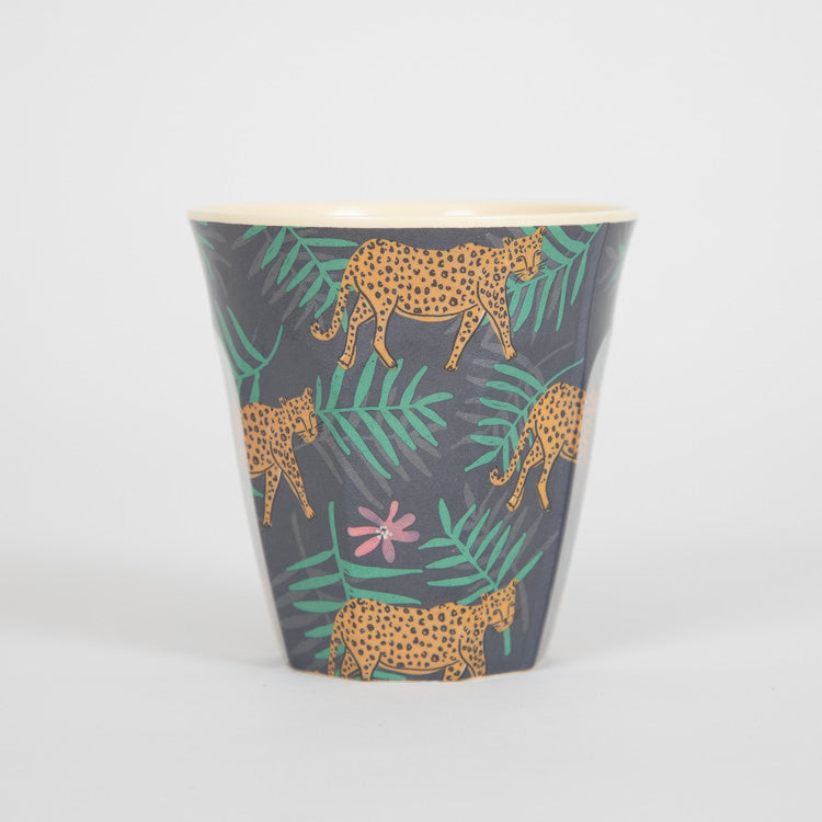 RICE Medium Leopard & Leaves Print Melamine Cup