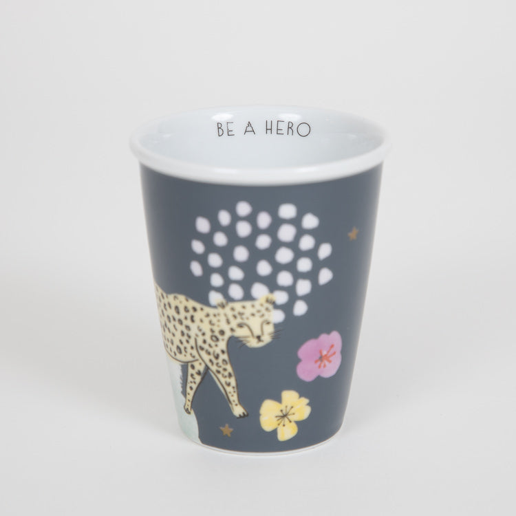 RICE Porcelain Cup With Wild Leopard Print & 'Be A Hero' Detail 225ml
