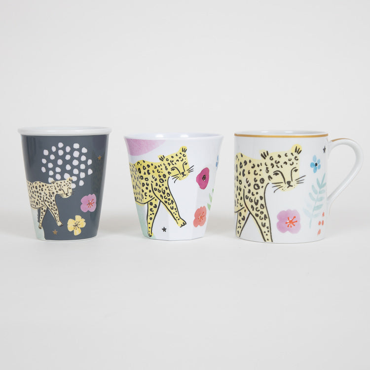 RICE Porcelain Cup With Wild Leopard Print & 'Be A Hero' Detail 225ml - other options