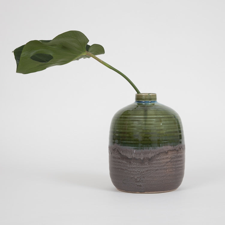 Bloomingville Green Glazed Stoneware Vase - with plant