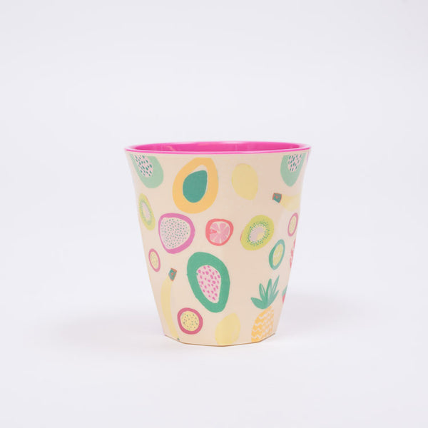 RICE Two Tone Tutti Frutti Print Melamine Cup available from Roo's Beach UK