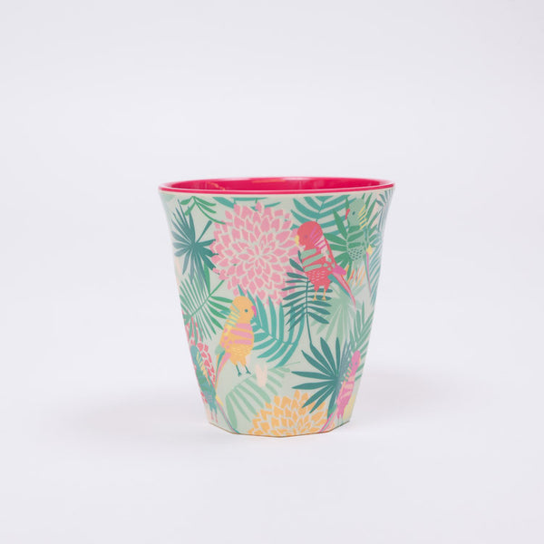 RICE Two Tone Tropical Print Melamine Cup available from Roo's Beach UK