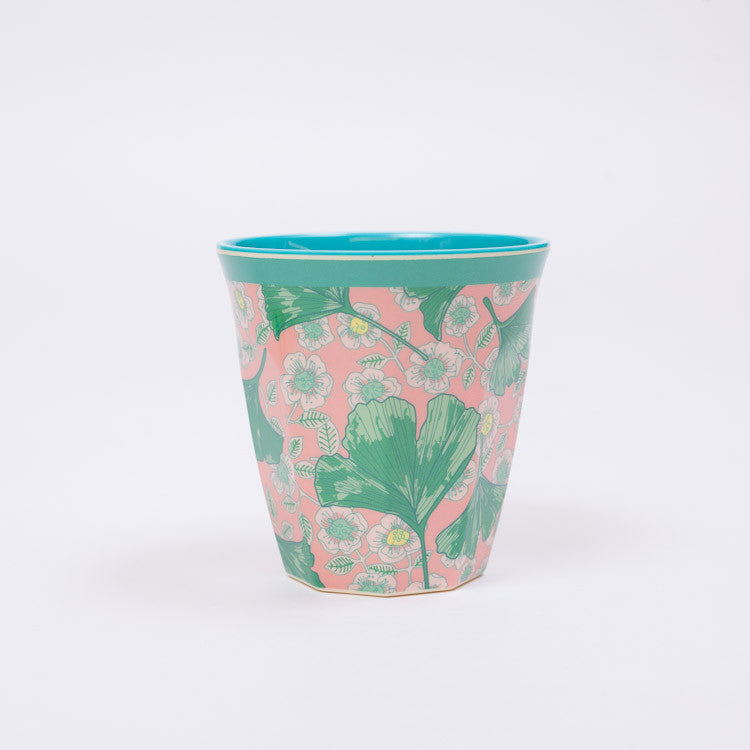 RICE Two Tone Leaves & Flower Print Melamine Cup