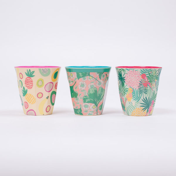 3 colourful Two-Tone Melamine Cup by Danish Homewear Brand Rice, available from Roo's Beach UK