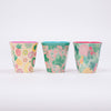 Colourful Two Tone Printed Melamine Cups by Danish Brand Rice available from Roo's Beach UK