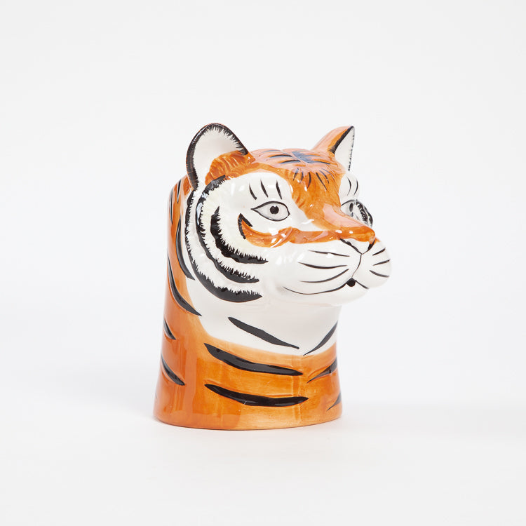 Product shot: Side view of the Rice Tiger Ceramic Vase