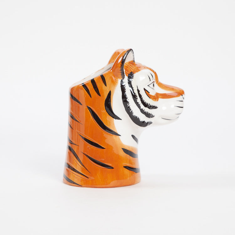 Product shot: Profile view of the Rice Tiger Ceramic Vase