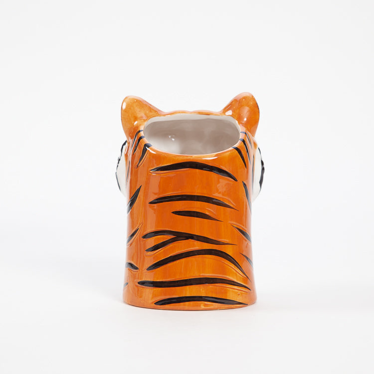 Product shot: Back view of the Rice Tiger Ceramic Vase