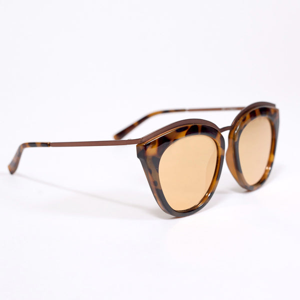 Le Specs Eye Slay Tortoise Mirrored Sunglasses - side on white background