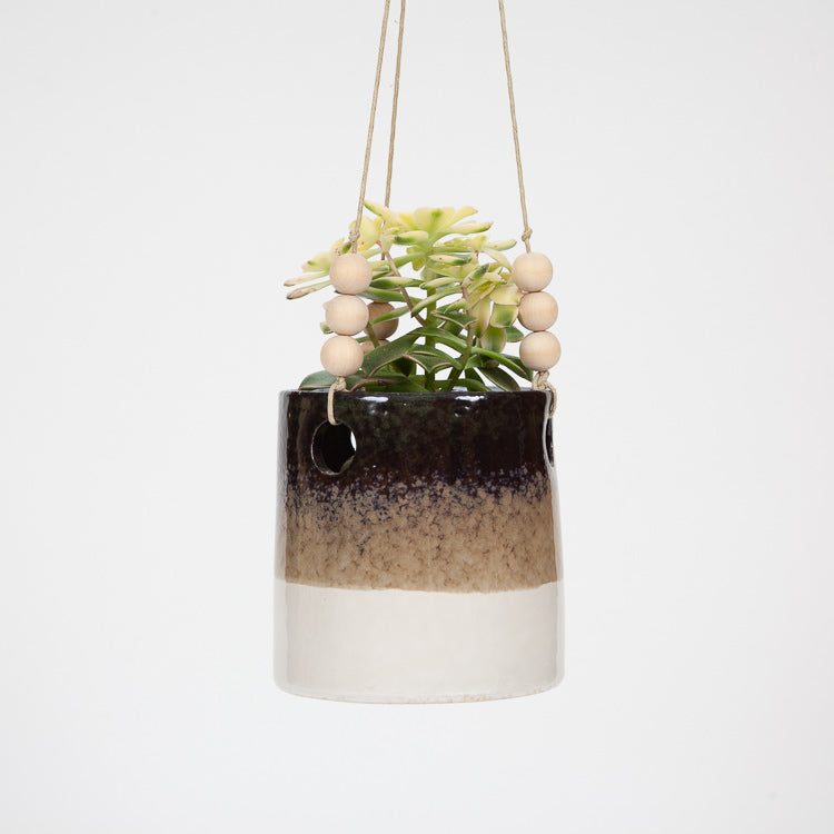 Bloomingville Green Stoneware Hanging Flower Pot