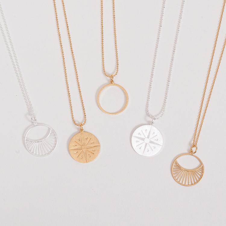 A group of 5 minimal style necklaces from Pernille Corydon