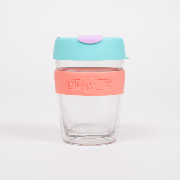 Product shot of the KeepCup Longplay Bubblegum Reusable 340ml Cup