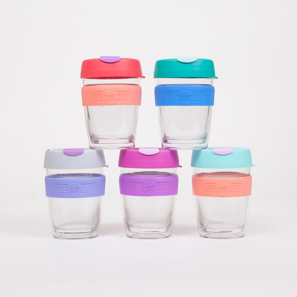 Group shot of 5 Longplay Reusable 340ml Cups from KeepCup