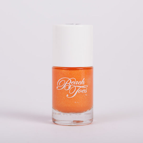 Beach Toes Burning Sun Sheer Metallic Orange Nail Polish