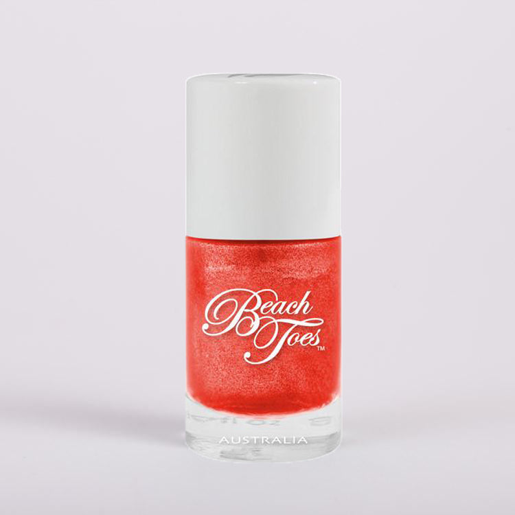 Beach Toes Island Heat Red Orange Shimmer Nail Polish
