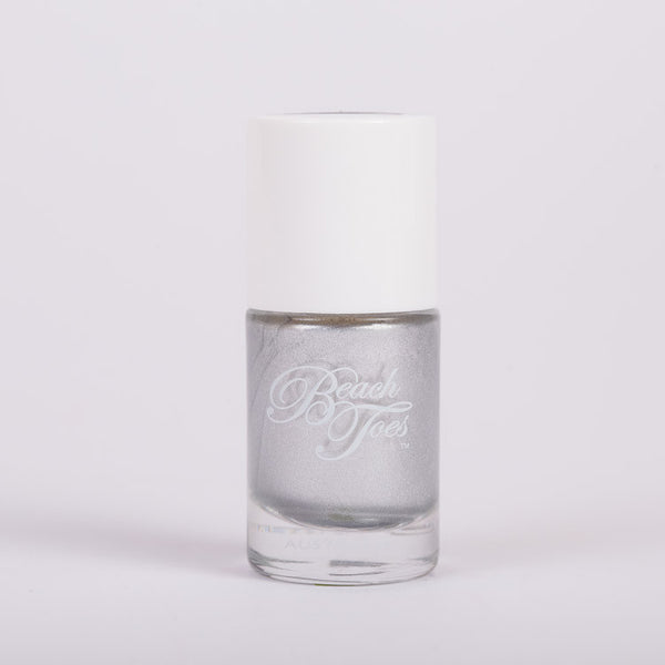 Beach Toes Heavy Metal Silver Metallic Nail Polish