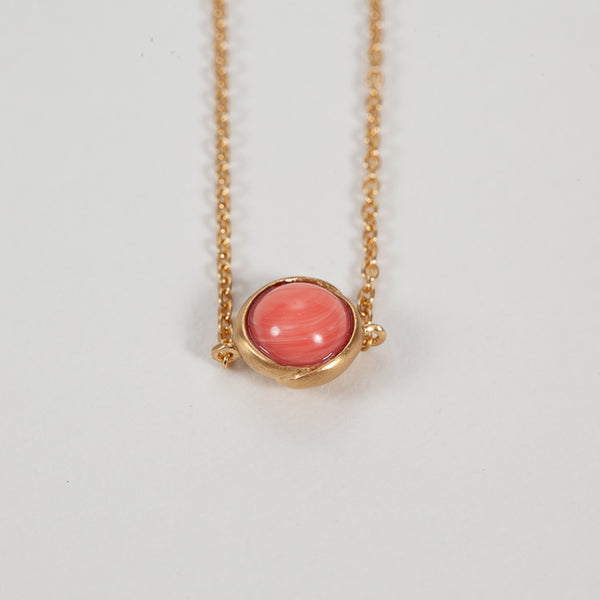 Product shot of Pernille Corydon Aura Coral Gold Plated Bracelet  - Close up of stone