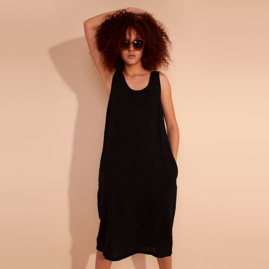 L.F. Markey Basic Black Linen Shift Dress