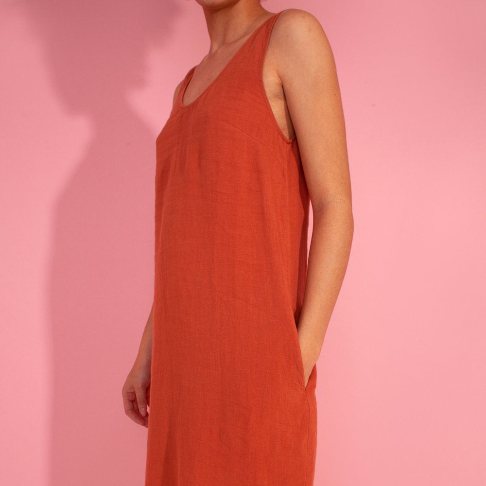 L.F. Markey Basic Terracotta Linen Shift Dress