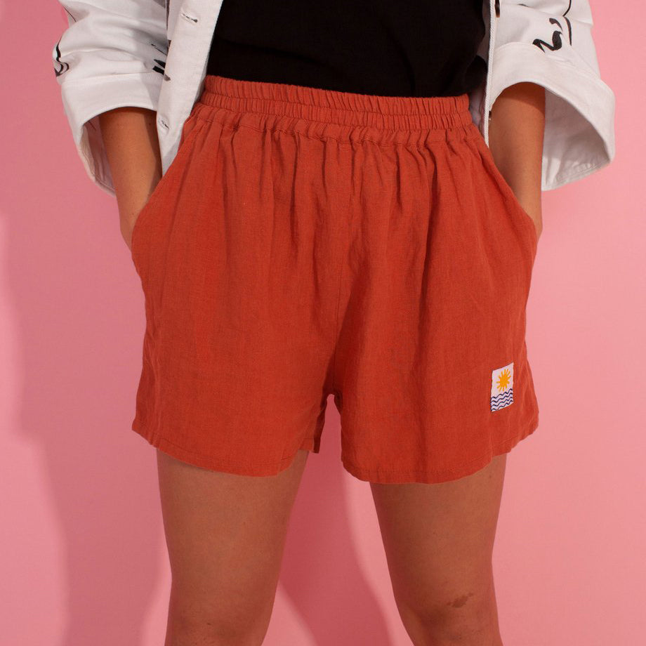 L.F. Markey Basic Terracotta Linen Shorts