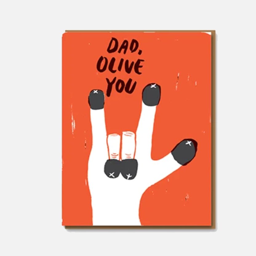 Egg Press Olive You Dad Greetings Card