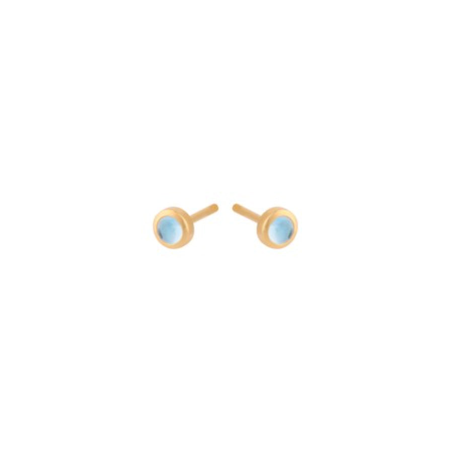 Pernille Corydon Shine Blue Topaz Gold Plated Stud Earrings