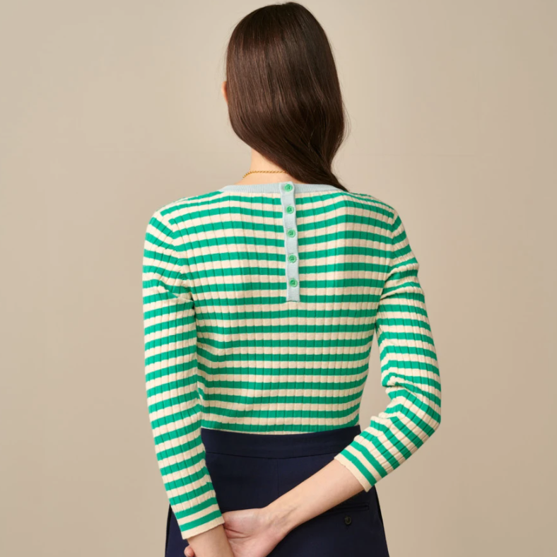 Bellerose Gopky Green Striped Knitted Sweater