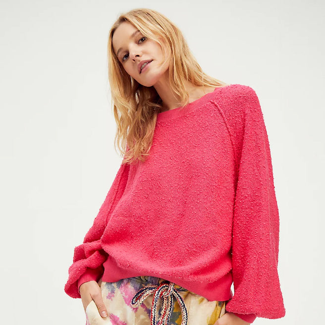 Free People Found My Friend Rock Candy Pink Sweatshirt