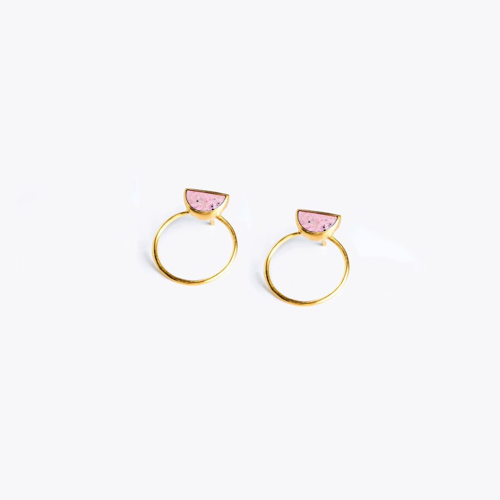 Wanderlust Life Sunburst Pink Rhodonite Halo Earrings