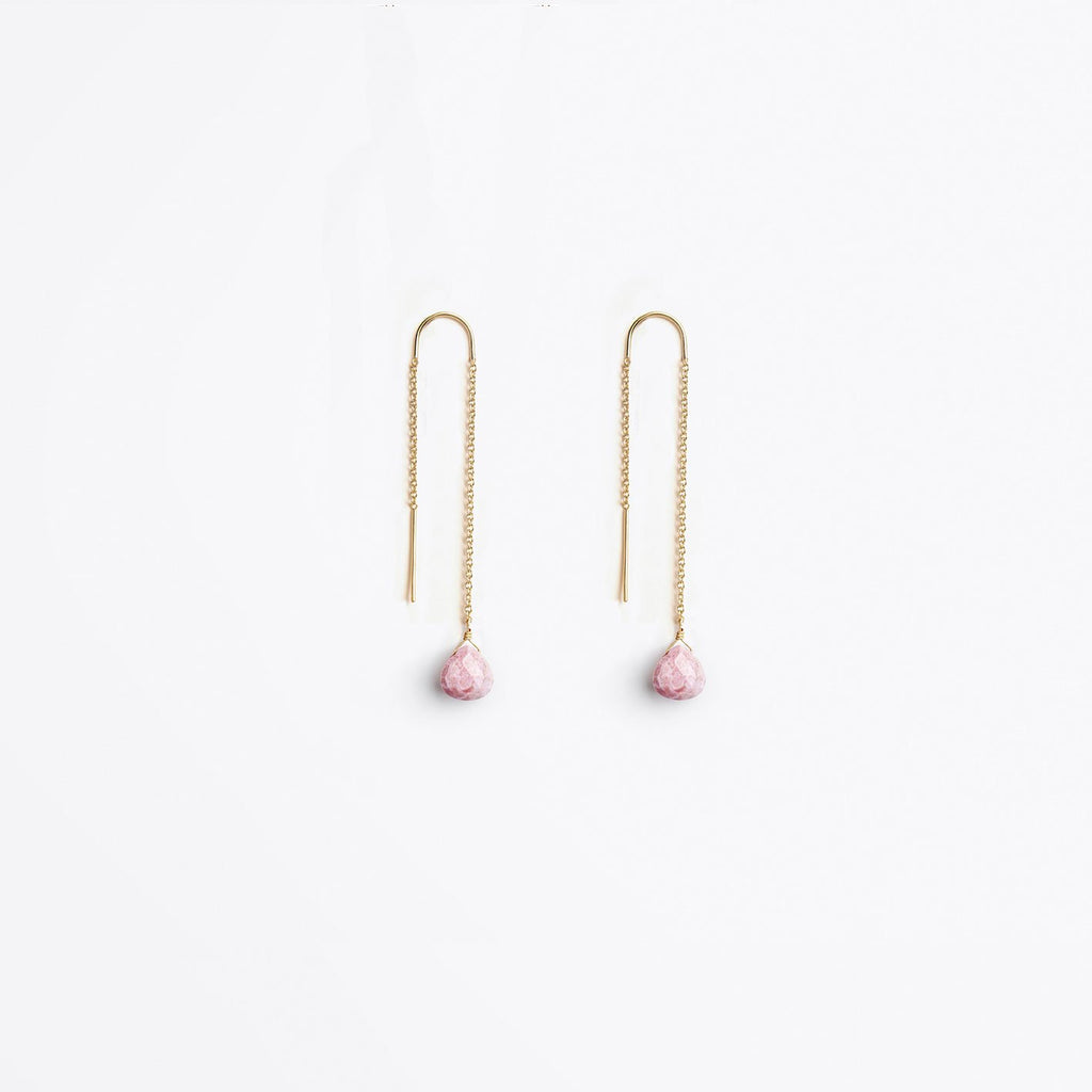 Wanderlust Life Pale Pink Rhodonite Waterfall Earrings
