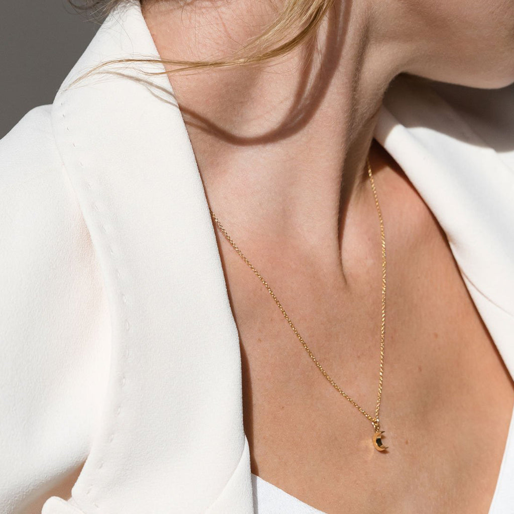 Wanderlust Life Fine Gold Chain Petite Luna Crescent Necklace