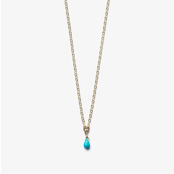 Wanderlust Life Turquoise Ana Gold Chain Necklace - on plain background