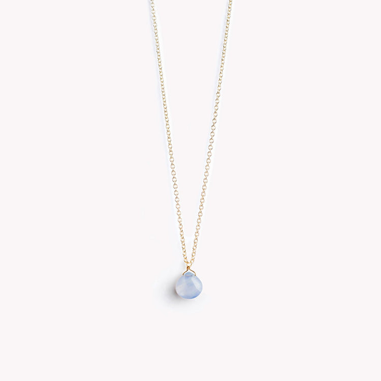 Wanderlust Life Blue Lace Agate Fine Gold Chain Necklace