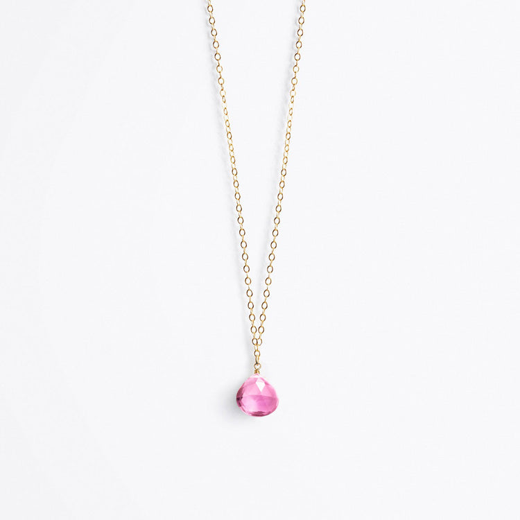 Wanderlust Life Cajun Pink Quartz Fine Gold Chain Necklace