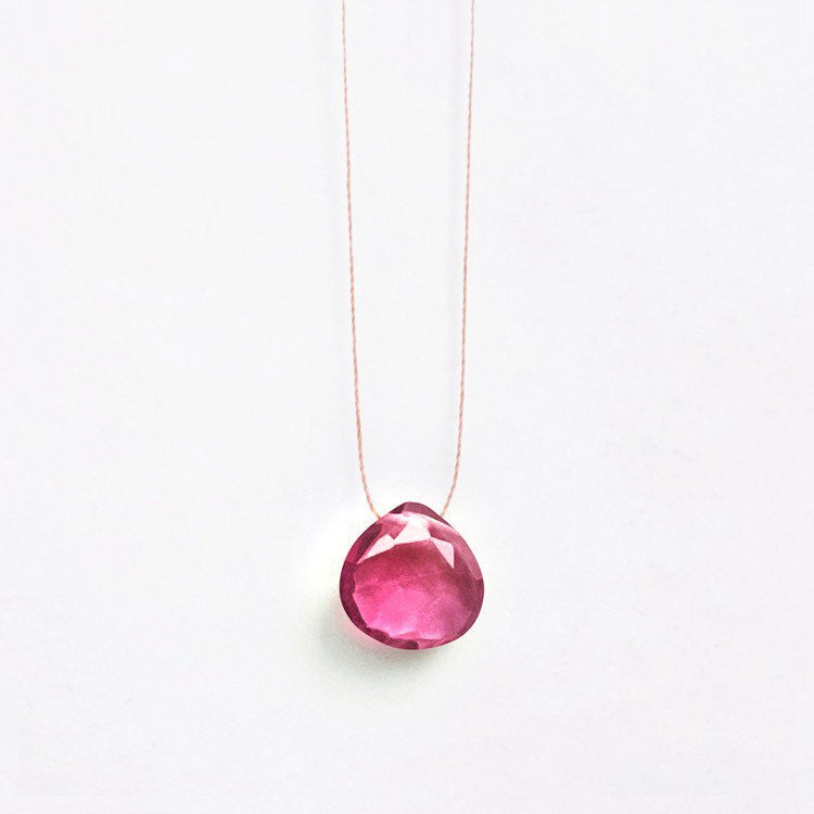 Wanderlust Life Cajun Pink Quartz Necklace – Beautifully simple multi faceted stone in a deep, pink, raspberry shade