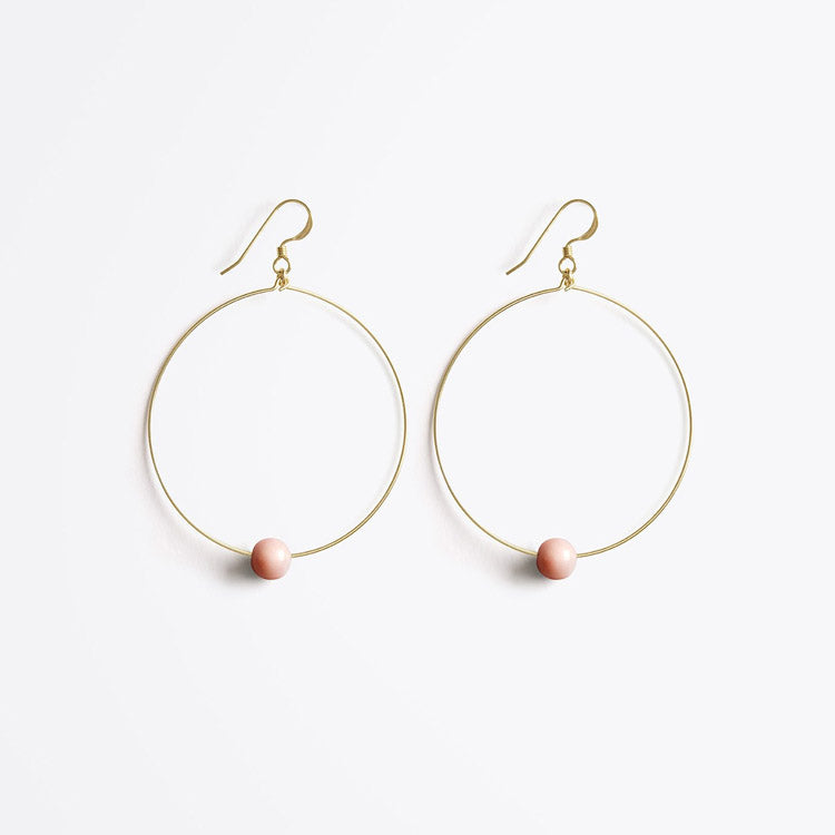 Product shot: Wanderlust Life Globe Large Hoop Pink Opal Earrings