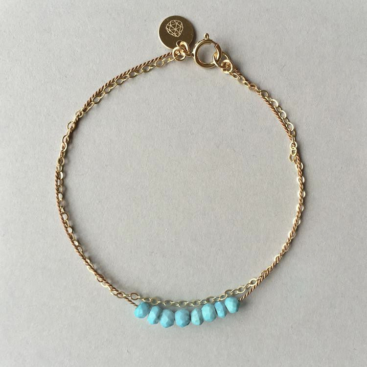 Wanderlust Life Gold & Silk Turquoise Bracelet available from Roo's Beach UK